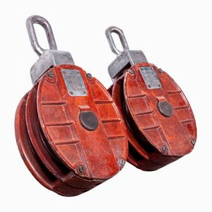 Large Industrial Pulleys, 1940s, Set of 2