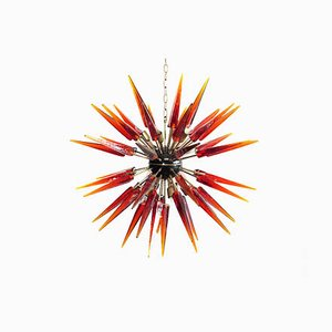 Amber Murano Glass Sputnik Chandelier, 1983