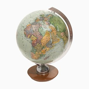 Vintage German Illuminated Glass Globe from JRO Verlag