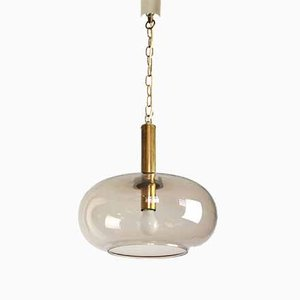 Mid-Century Modern Smoked Glass Pendant Lamp