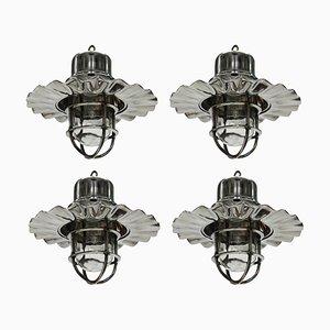 Lampes de Bateau Vintage en Nickel, Set de 4