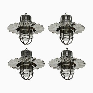 Vintage Nickel Ship Lights, Set of 4