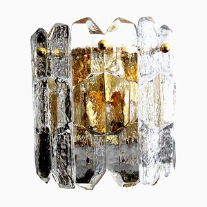 Brutalist Murano Glass & Gilded Brass Sconce from Kalmar, 1970s