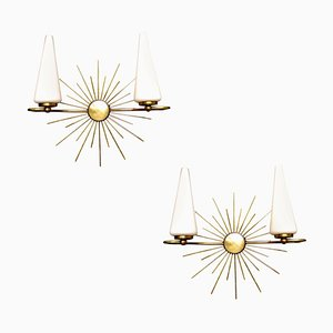 French Brass & Glass Sunburst Sconces from Lunel, 1950s, Set of 2