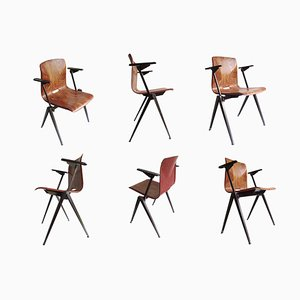 Industrial Plywood & Steel S22 Armchairs from Galvanitas, 1960s, Set of 6
