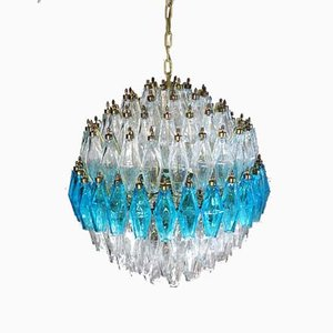 Kronleuchter aus blauem und transparentem Murano Glas, 1981