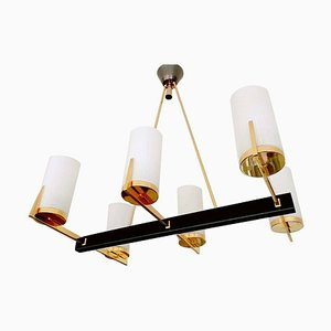 Large Glided Brass & Glass Chandelier from Arlus, 1960s