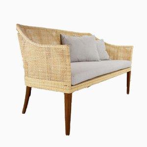 Vintage Wood & Rattan Sofa