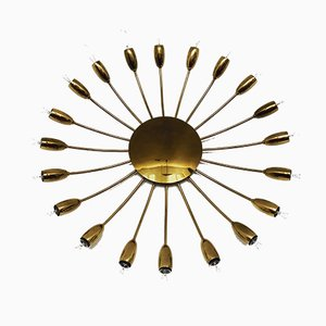 Large Golden Sputnik Ceiling Lamp, 1950s
