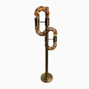 Italian Brass & Murano Glass Floor Lamp by Aldo Nason for Mazzega, 1970s