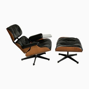 Lounge Chair & Ottoman Set by Charles & Ray Eames for Herman Miller, 1960s, Set of 2