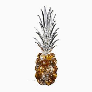 Medium Bernsteinfarbene Kristallglas Ananas von VGnewtrend