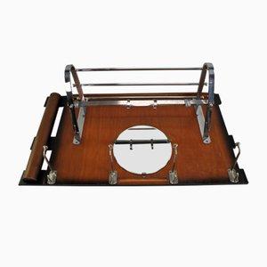 Vintage Bauhaus Chrome & Wood Rack
