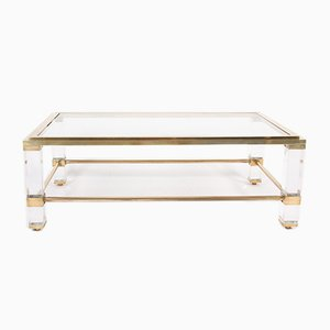 French Brass & Lucite Coffee Tables, 1960s, Set of 2