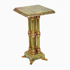Antique Enamel, Gilt Bronze, and Onyx Side Table