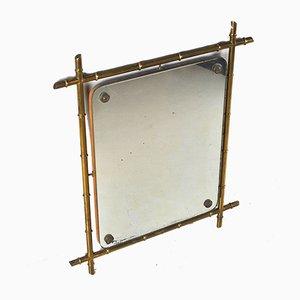Tiki Style Bamboo & Brass Mirror, 1960s