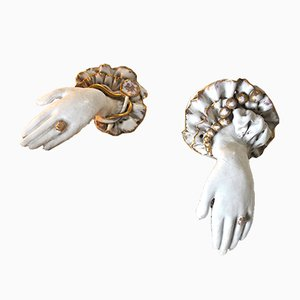 Art Deco Ceramic Hand Sculptures, 1930s, Set of 2