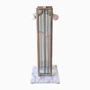 Italienische Art Deco Tischlampe aus Marmor, Stahl und Glas