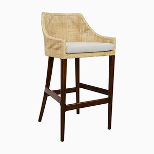 Vintage French Rattan & Wood Barstool