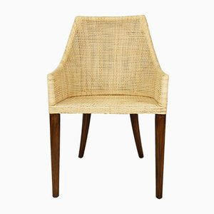 Vintage French Rattan & Wood Dining Chairs, Set of 6