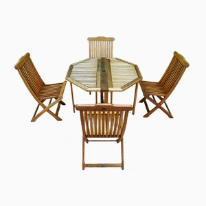 Terrace Table & Chair Set from Jutlandia, 1980s, Set of 5