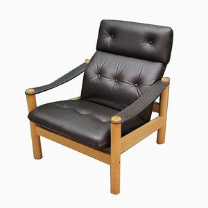 Vintage Danish Leather and Wood Armchair, 1970s