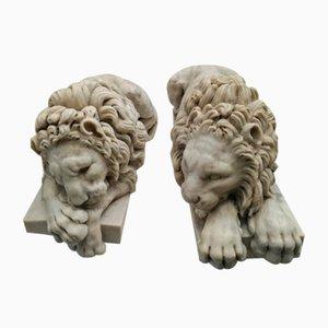 Antike Löwenfiguren aus Marmor, 1910er, 2er Set