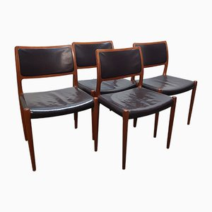 Vintage Teak and Leather Model 80 Side Chairs by Niels Otto Møller for J.L. Møllers, 1950s, Set of 4