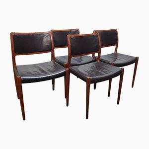 Vintage Teak und Leder Modell 80 Beistellstühle von Niels Otto Møller für JL Møllers, 1950er, 4er Set