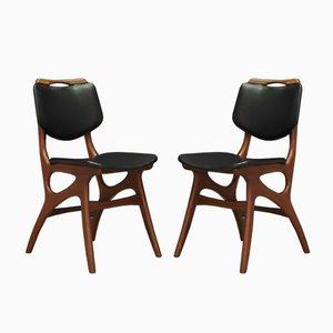 Chaises de Salon Mid-Century en Tissu et Teck, Danemark, Set de 2