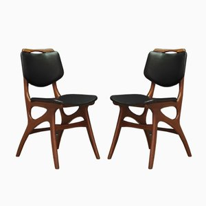Mid-Century Danish Fabric and Teak Dining Chairs, Set of 2