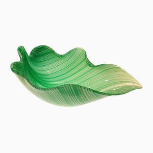 Large Italian Murano Leaf Bowl by Tyra Lundgren for Venini, 1950s