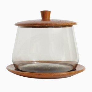Mid-Century Teak & Smoked Glass Dish from Karl Holmberg Gotene