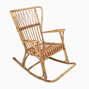 Rocking Chair en Osier, Italie, 1980s