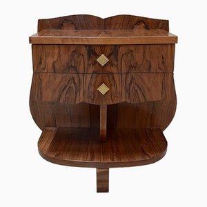 Vintage Art Deco Walnut Veneer Nightstands, Set of 2
