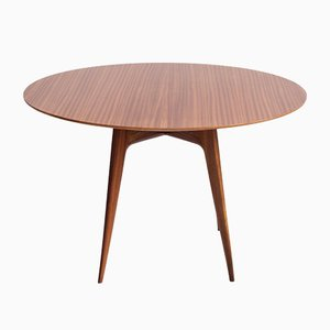 Italian Modern Round Wooden Dining Table, 1950s