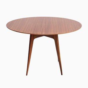 Italienischer Moderner Runder Holz Esstisch, 1950er