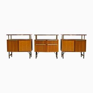 Mid-Century Holz, Messing und Marmor Anrichte, 1950er, 3er Set