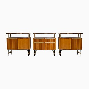 Mid-Century Wood, Brass, and Marble Credenzas, 1950s, Set of 3