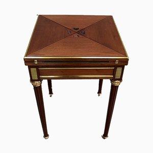 Kleiner antiker Louis XVI Spieltisch aus Mahagoni