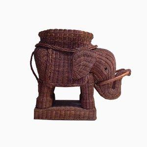 Gewebter WIcker Elephant Beistelltisch, 1970er