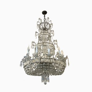 Antique Style Italian Crystal Ceiling Lamp, 1950s