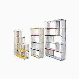 Klappbares italienisches Bücherregal aus Lackiertem & Holz, 1970er, 3er Set