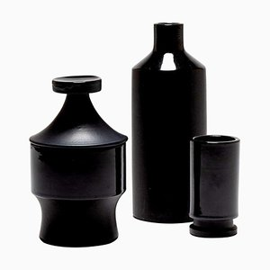 Black Ceramic Vessels from Lucerner Keramik, 1950s, Set of 3
