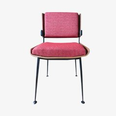 Stuhl in Rotem Stoff von Alain Richard, 1970er
