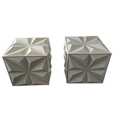 White Plastic and Metal Decorative Cubes, Set of 2