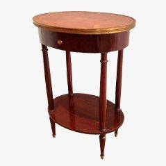 Petite Table Ovale avec Dessus en Cuir