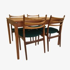 Scandinavian Modern Teak Dining Set with Extendable Tabletop