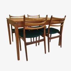 Skandinavisches Teakholz Esszimmer Set mit erweiterbarer Tischplatte
