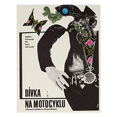 Affiche Vintage du Film La Motocyclette par Stanislav Vajce, République Tchèque, 1969